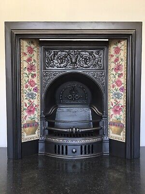 Restored Antique Victorian Style Cast Iron Tiled Insert Fireplace Arch (QP413)  • 560£