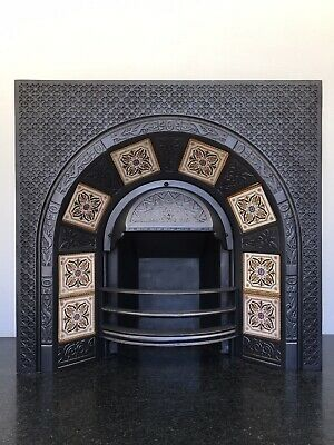 Restored Antique Victorian Style Cast Iron Arched Tiled Insert Fireplace (QP420) • 580£