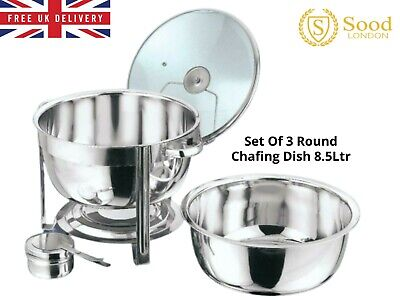 £107.99 • Buy Set Of 3 Round 8.5 Litre Chafing Dish Solid/BUFFET DISH/FOOD WARMER GLASS LID