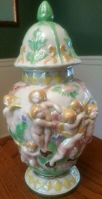 $23.50 • Buy Vintage 14  Ceramic Vase Urn Mantle Cherubs Pink Green