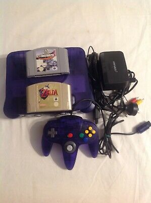 AU350 • Buy N64 Console Clear Purple PAL 2 Games Tested Working