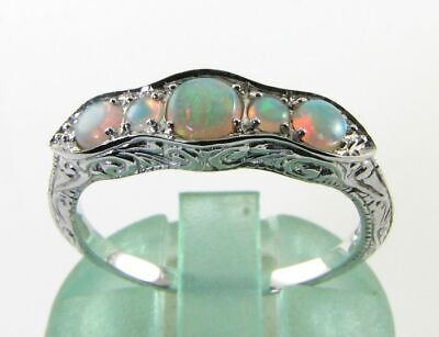£239 • Buy CLASS 9k 9CT WHITE GOLD OPAL ART DECO INS ETERNITY BAND RING FREE RESIZE