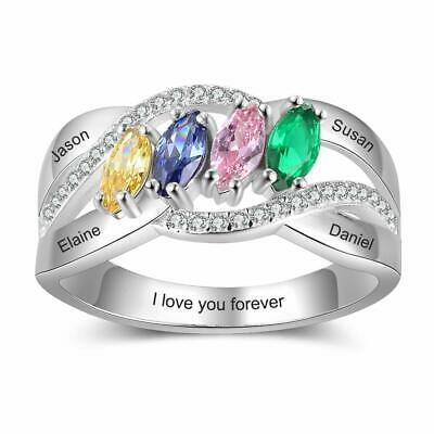 $28.99 • Buy 925 Sterling Silver Women Rings Personalized Names Birthstones Mothers Day Gifts