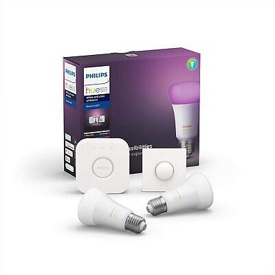 AU172.46 • Buy Philips Hue White And Color Ambiance Starter Kit 2xE27 + Smart Button + Bridge