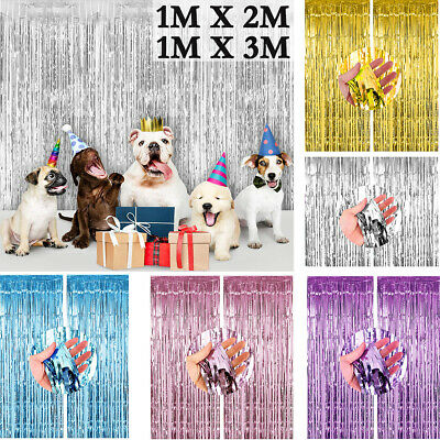 2-3M Foil Fringe Curtain Tinsel Shimmer Door Birthday Party Wedding DECORATIONS • 3.19£