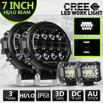 AU106.66 • Buy Pair 7 Inch Round LED Work Light Spot Combo Lamp DRL Driving Reserve +4INCH Pods