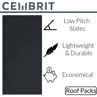 Cembrit Fibre Cement Slates | Roofing Tile | Roof Slates | 600 X 300 | Roof Pack • 2,800£