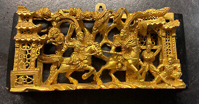 £210 • Buy Vintage Chinese Gilded Carved Wood Relief Panel