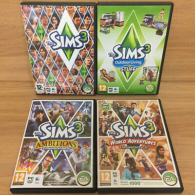 The Sims 3 PC Games Bundle Outdoor Living Ambitions World Adventures (NO CODES) • 12.95£