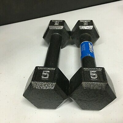 $ CDN57.53 • Buy Dumbbell Pair Of 5 Pound Hex Cast Iron Weights (10lbs Total)