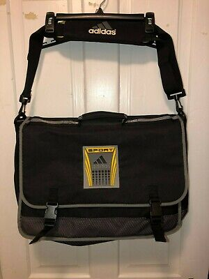 $29.99 • Buy Adidas Messenger Bag Shoulder Tote Laptop Briefcase School Travel Black Yellow