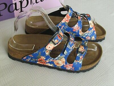 NEW Papillio Birkenstock Ladies Navy Blue Floral SOFT FOOTBED Sandals Size 5 38 • 69.99£