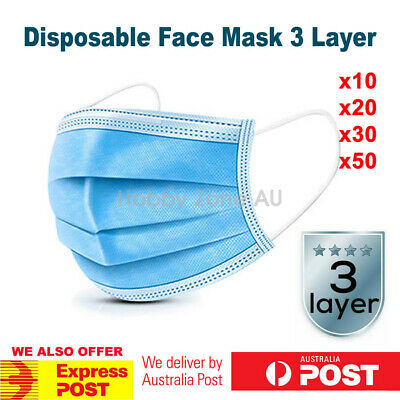 AU14.89 • Buy 10/20/30/50 Disposable Face Mask 3 Layer KN95 Mouth Masks Anti Dust Protective