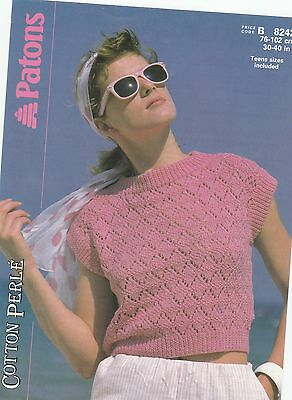 Knitting Pattern - Patons 8242 - Teen/Lady's Cotton/DK Lacy Cropped Top 30-40  • 2.60£