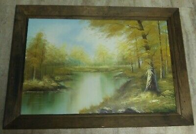 $ CDN120.95 • Buy Vintage Framed Oil On Canvas Painting Woodland Scene River Signed Cantrell 41x29