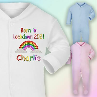 Personalised Born In Lockdown Embroidered Baby Sleepsuit Gift Unisex • 9£