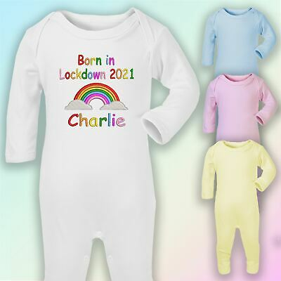 Personalised Born In Lockdown Embroidered Baby Romper Babygrow Gift Unisex • 8.75£
