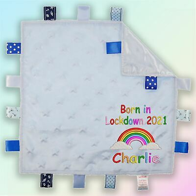 Personalised Born In Lockdown Embroidered Baby Star Taggy Gift Blanket Unisex • 9.45£
