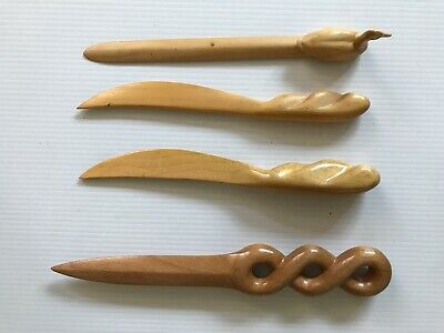 $20 • Buy Vintage Lot Hand Carved Wooden Wood Letter Openers Duck