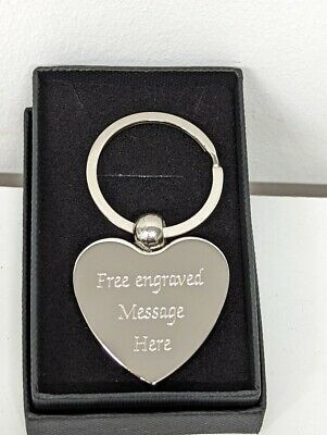 £4.50 • Buy Engraved Heart Gift Key Chain Personalised Heart Silver Key Ring