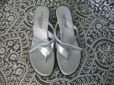 $12.99 • Buy Callisto Of California Silver Sandals Wedge Heel Size 8 NEW