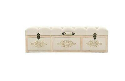 Large Storage Box French Bedroom Bench Vintage Cream Trunk Accent Furniture NEW • 239.88£
