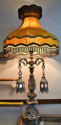 $699 • Buy Mid-Century Elaborate Gothic Chandelier Brass Table Lamp LARGE! RARE!