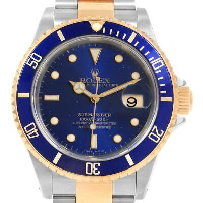$ CDN13514.45 • Buy Rolex Submariner Blue Dial And Bezel Steel Gold Watch 16613 Box Papers