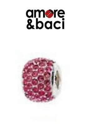 £10.99 • Buy Genuine AMORE & BACI 925 Sterling Silver PINK CRYSTAL PAVE Charm Bead