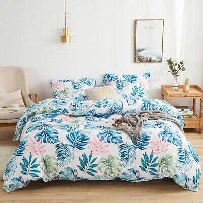 £34.18 • Buy Reversible Leaves Print Bedding Set Duvet Cover Pillowcases Twin Queen King Size