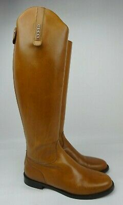 Gucci Maud Cognac Brown Leather Equestrian Riding Boots Women's Size 37  • 412.20£