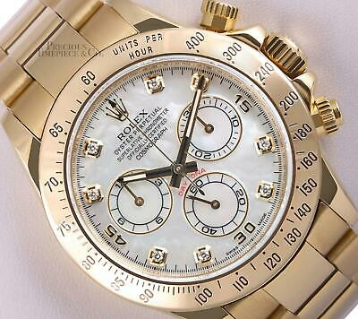 $ CDN46108.27 • Buy Rolex Men 40mm Daytona 116528 18k Yellow Gold Chronograph-White MOP Diamond Dial