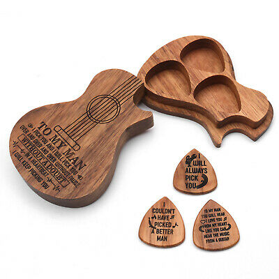$ CDN16.90 • Buy Wooden Guitar Pick Box Plectrum Holder Case Musical Gift W/3pcs Olivewood Picks