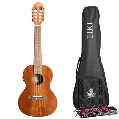 AU279 • Buy Tiki T8-E 8 String Solid Mahogany Top Electric Tenor Ukulele With Bag