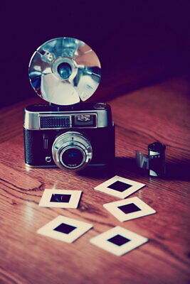 101238 Old Fashioned Camera With Flash Film And Slides LAMINATED POSTER UK • 10.95£
