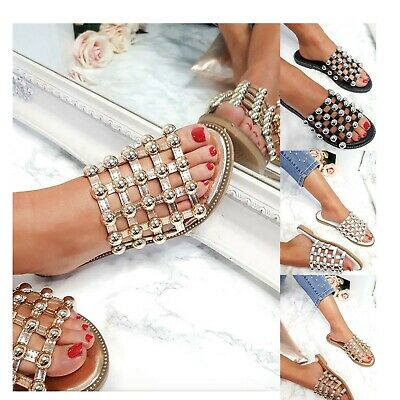£14.99 • Buy Womens Ladies Studded Cage Sliders Flat Summer Sandals Bling Slides Mules Size