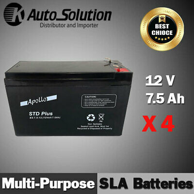 AU139.99 • Buy 12V 7.5AH SLA Battery Main Power Back Up Fits For NBN, UPS, Alarm, Toy X 4 Sets