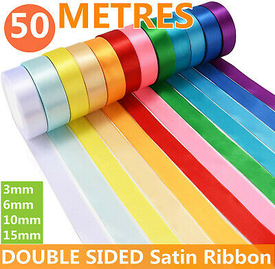 £1.99 • Buy 50 Metres, DOUBLE SIDED Satin Ribbon (Rolls). 6mm 10mm 15mm Widths Many Colours
