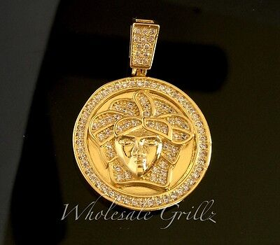 £21.62 • Buy NEW 14k Gold Gp Simulate Diamond Medusa Face Pendant HipHop Iced Charm Bling Out