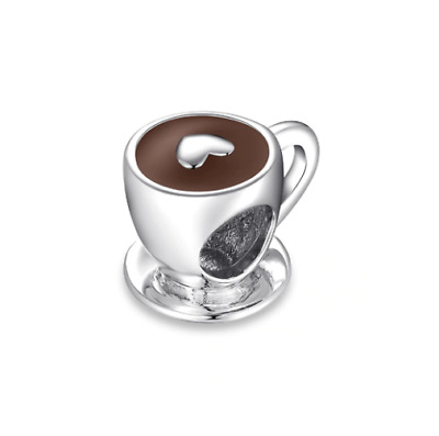 AU24.99 • Buy SOLID Sterling Silver I Love Coffee Cappuccino Charm By Pandora's Wish
