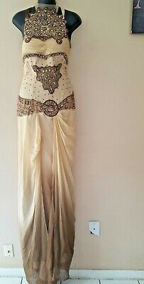 $ CDN425.60 • Buy MNM Couture Strapless Charbel Nader Embellished Gown & Shawl 16 Metallic YJ01