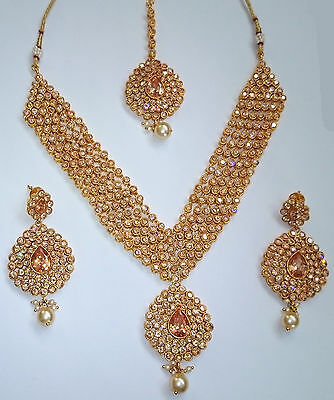 £36.95 • Buy Indian Bollywood Bridal Gold Polki Jewellery Necklace, Earring And Tikka