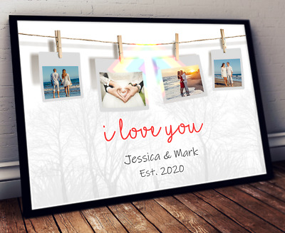 Personalised I LOVE YOU Valentines Day Print COUPLES Photos On Pegs • 4.45£