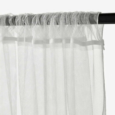 IKEA LILL  Pair Of Long Sheer Floaty White Net Curtains 280 X 250cm • 11.99£
