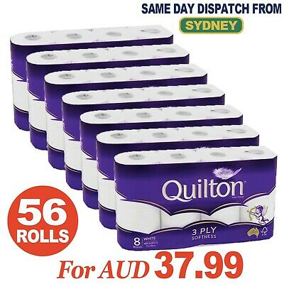 AU18.99 • Buy QUILTON TOILET PAPER TISSUE 8 ROLLS SOFT 3 PLY 180 SHEETS 8/16/24/32/56 Roll