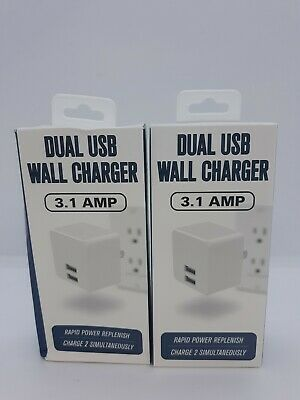 $ CDN17.78 • Buy NEW 2 Dual USB Wall Chargers 3.1 AMP ~ White