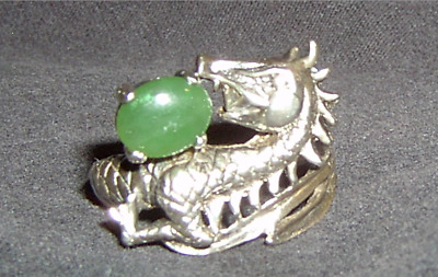£88.73 • Buy Sterling Silver Dragon Ring Jade Stone Size 12 Mens
