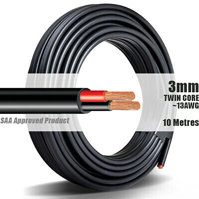 AU20.90 • Buy TWIN CORE WIRE 3mm 10M Meter 2 CORE AUTOMOTIVE MARINE ELECTRICAL CABLE