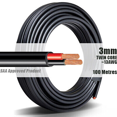 AU89.90 • Buy TWIN CORE WIRE 3mm 100M Meter 2 CORE AUTOMOTIVE MARINE ELECTRICAL CABLE