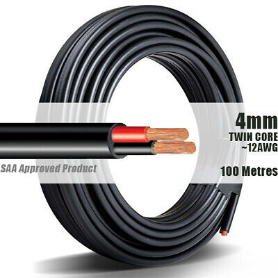 AU124.90 • Buy TWIN CORE WIRE 4mm 100M Meter 2 CORE AUTOMOTIVE MARINE ELECTRICAL CABLE